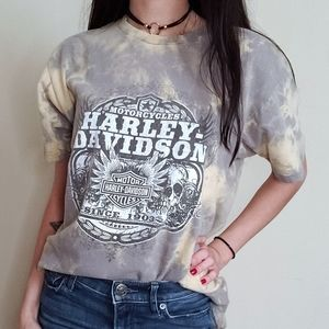 Custom Bleach Distressed Harley Davidson T-Shirt